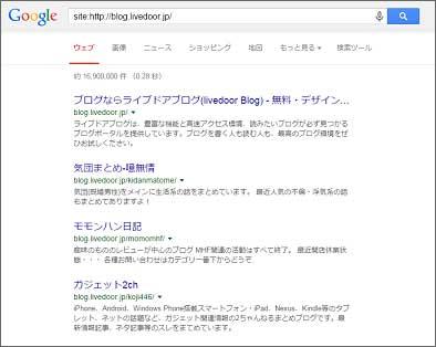 Googleのライブドアブログのsite:結果