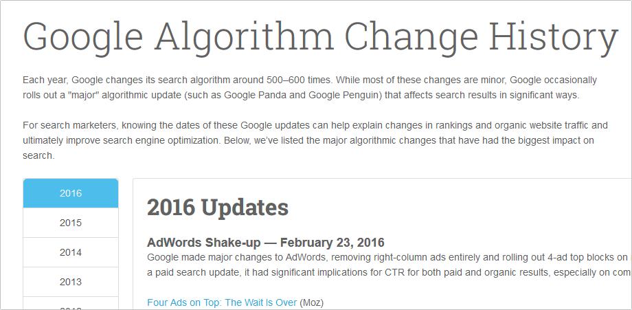 MOZのGoogleのアルゴリズム変更履歴 イメージ