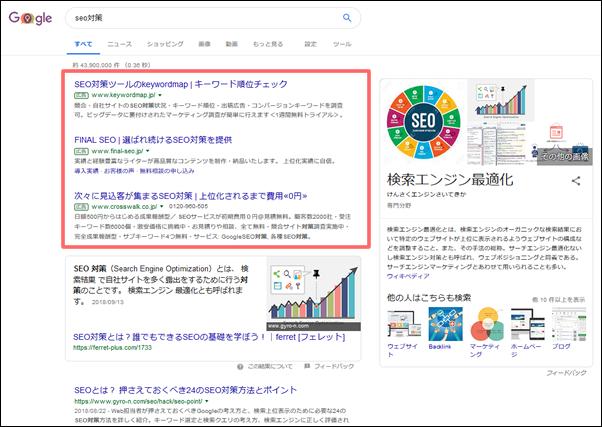 Googleの検索結果ページのリスティング広告枠