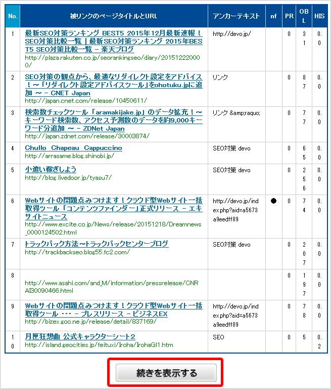 hanasakigani.jp マイサイト被リンクチェックイメージ③