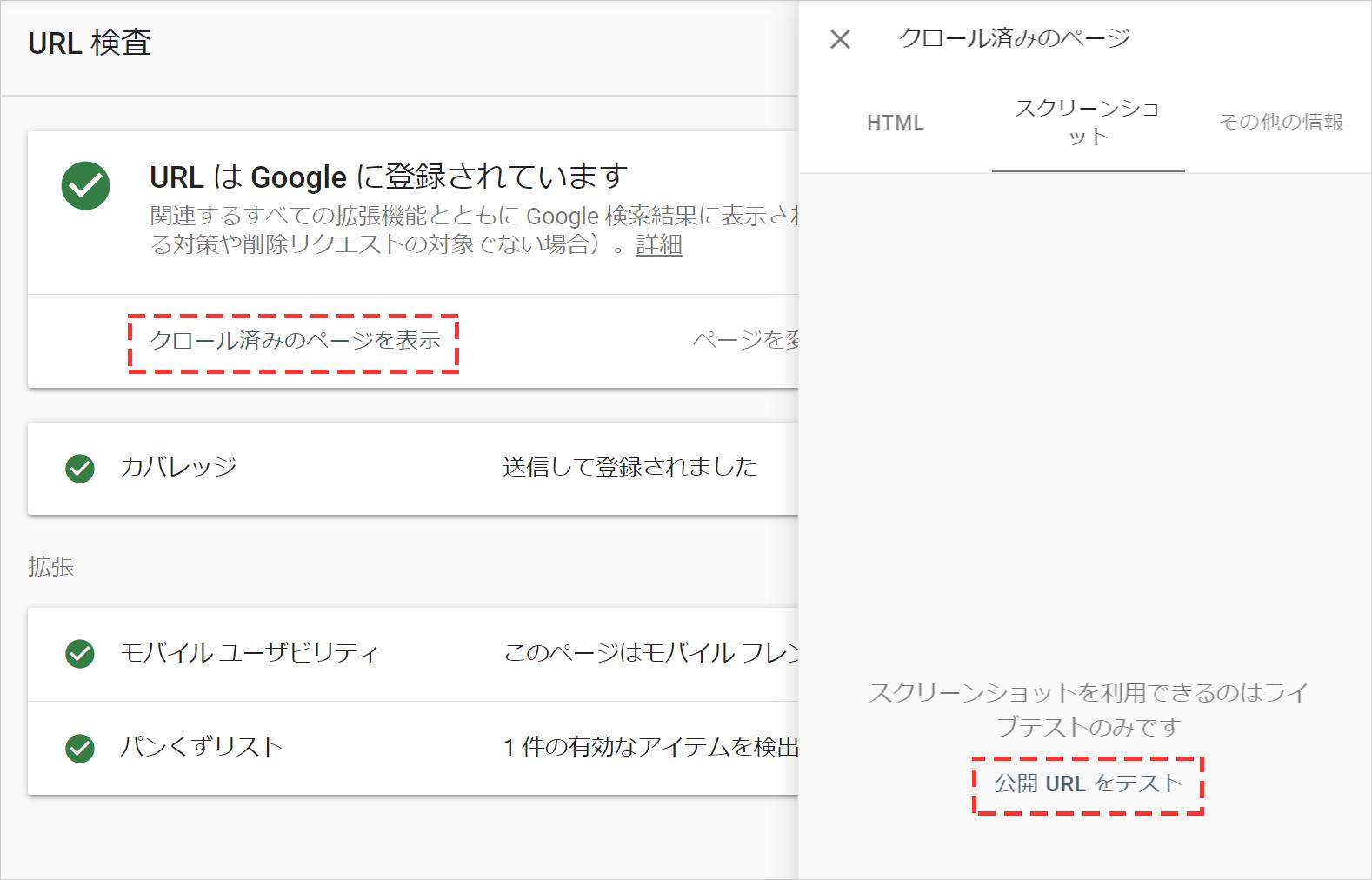 URL検査ツールでクロール済みのページを表示後、公開URLのテストをする
