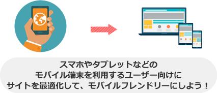 スマホやタブレットなどの モバイル端末を利用するユーザー向けに サイトを最適化して、モバイルフレンドリーにしよう!
