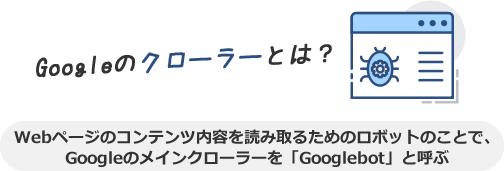 Googleのクローラーとは、Webページのコンテンツ内容を読み取るためのロボットのことで、Googleのメインクローラーを「Googlebot」と呼ぶ
