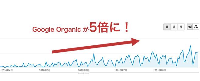5ヶ月でオーガニックが5倍に伸びたグラフ推移(Googleアナリティクス)