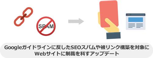 ペンギンアップデートとは、Googleガイドラインに反したSEOスパムや被リンク構築を対象にWebサイトに制裁を科すアップデート