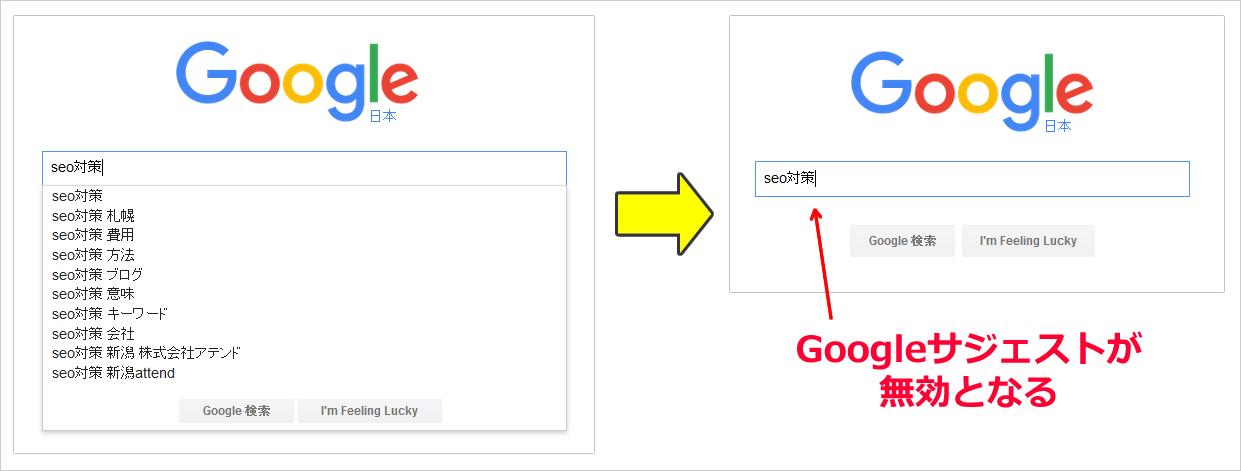 Googleサジェストを無効にする方法 イメージ
