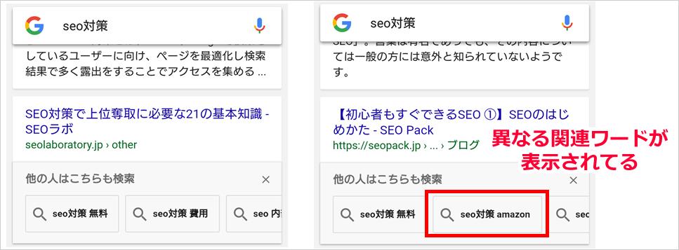 スマホ検索した場合に表示される「他の人はこちらも検索」の関連ワード