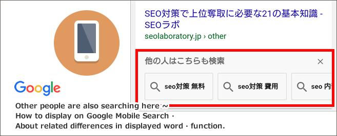 他の人はこちらも検索とは~Googleモバイル検索での表示方法・表示される関連ワード・機能の違いについて