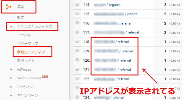 Googleアナリティクスの参照元のIPアドレスについて イメージ