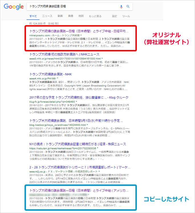 著作権が侵害されたページ イメージ