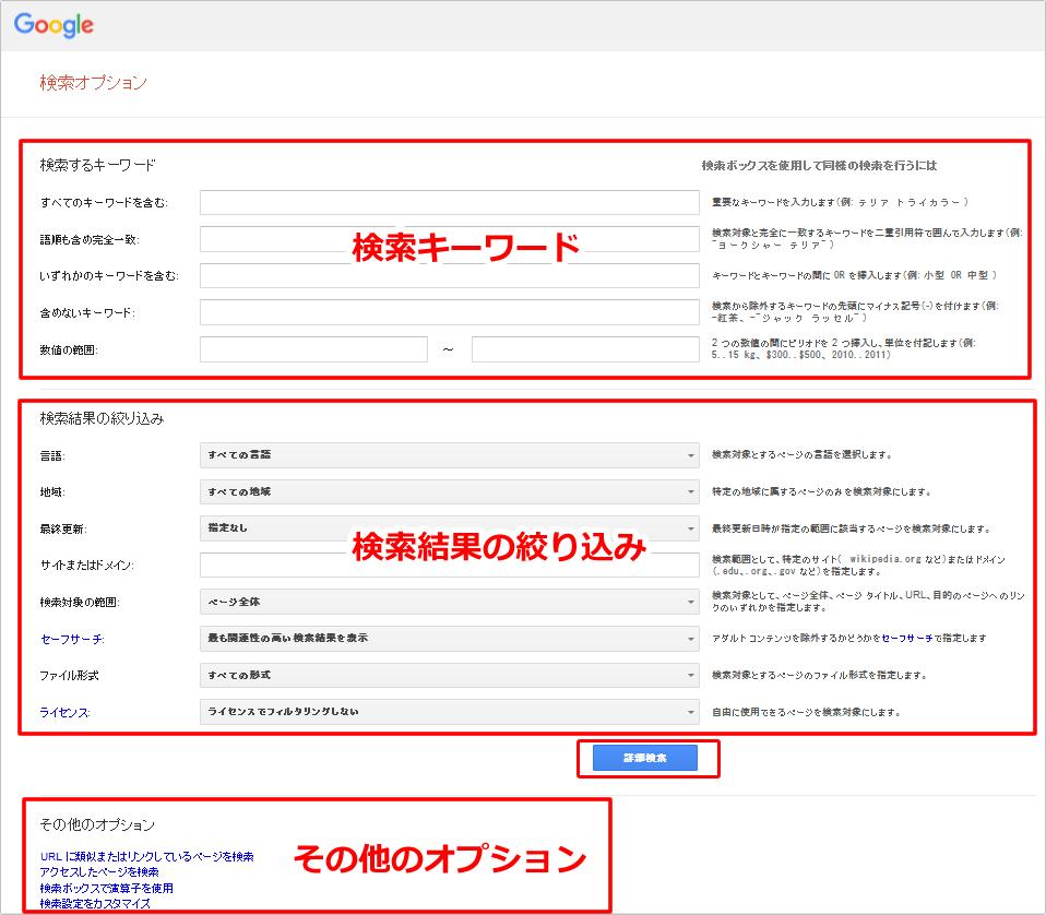 Google検索オプションを使った検索方法 イメージ