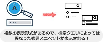 複数の表示形式があるので、検索クエリによっては 異なった強調スニペットが表示される!