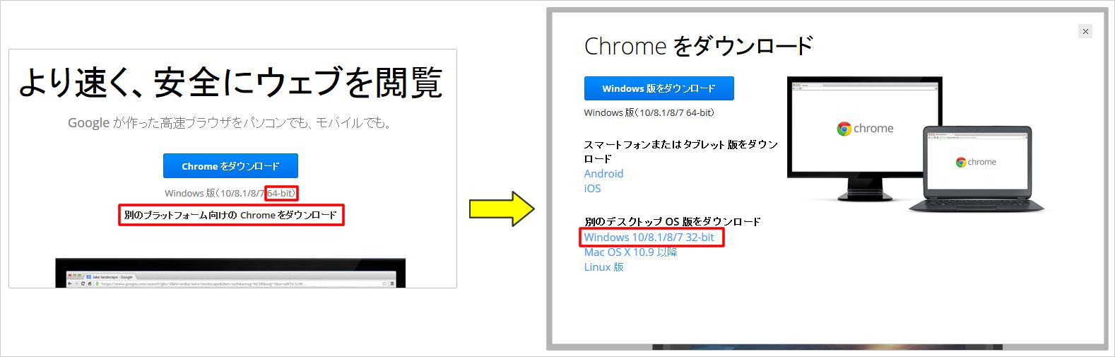 Google Chrome(グーグルクローム)の64bit版について イメージ
