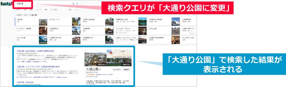 キーワード「札幌 お出かけ」から「大通り公園」にGoogle検索結果が変更