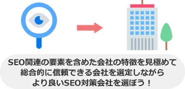 SEO関連の要素を含めた会社の特徴を見極めて 総合的に信頼できる会社を選定しながら より良いSEO対策会社を選ぼう!