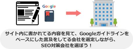 サイト内に書かれてる内容を見て、Googleガイドラインを ベースにした言及をしてる会社を選定しながら、 SEO対策会社を選ぼう!