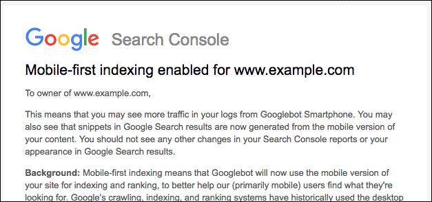 モバイルファーストインデックスが適用されるとサーチコンソールに通知される
