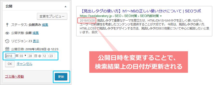 WordPressの投稿編集の公開メニューから公開日時を変更して、検索結果上の日付を更新