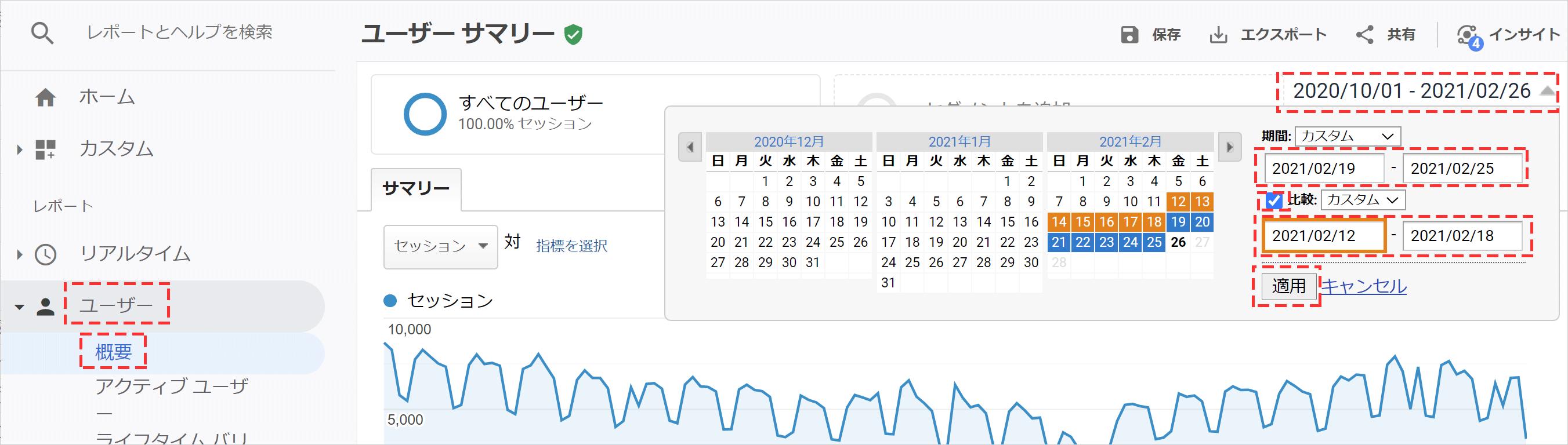 Googleアナリティクスで過去の期間と比較してアクセス数を調べる