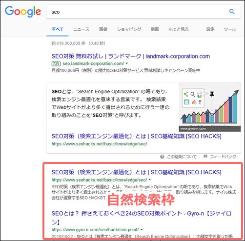 インターネット検索結果の自然検索枠