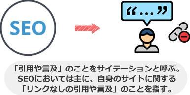 「引用や言及」のことをサイテーションと呼ぶ。 SEOにおいては主に、自身のサイトに関する 「リンクなしの引用や言及」のことを指す。