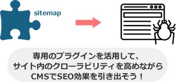 専用のプラグインを活用して、 サイト内のクローラビリティを高めながら CMSでSEO効果を引き出そう!