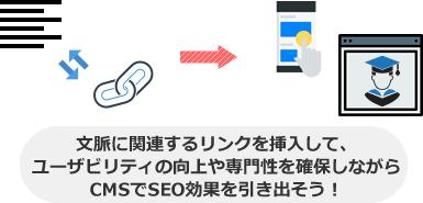 文脈に関連するリンクを挿入して、 ユーザビリティの向上や専門性を確保しながら CMSでSEO効果を引き出そう!